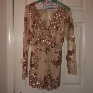 Tan/rose gold sequence romper